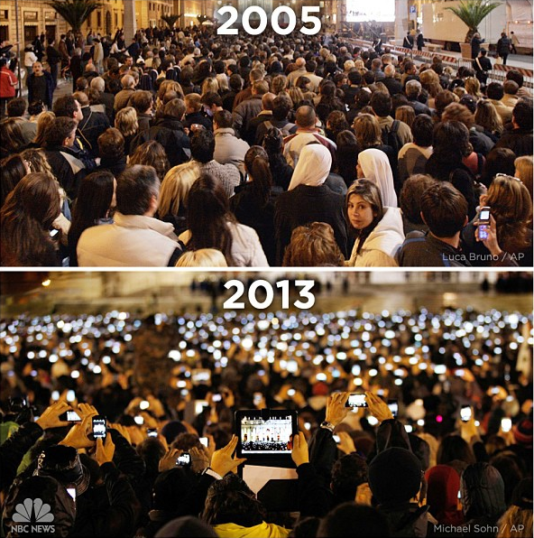 NBC News image of St. Peter's Square in 2005 vs. 2013